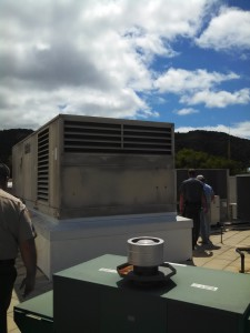 The rooftop air handler. You can just see the iconic spire of the Marin Civic Center in the background.